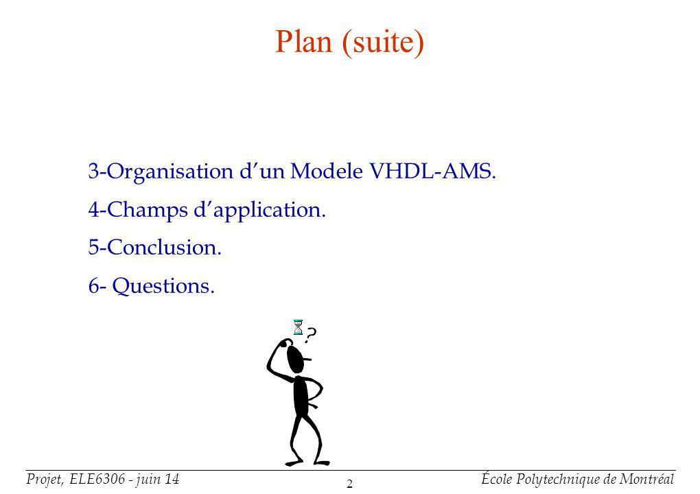 Projet, ELE6306 - juin 14École Polytechnique de Montréal 2 Plan (suite) 3-Organisation dun Modele VHDL-AMS. 4-Champs dapplication. 5-Conclusion. 6- Qu