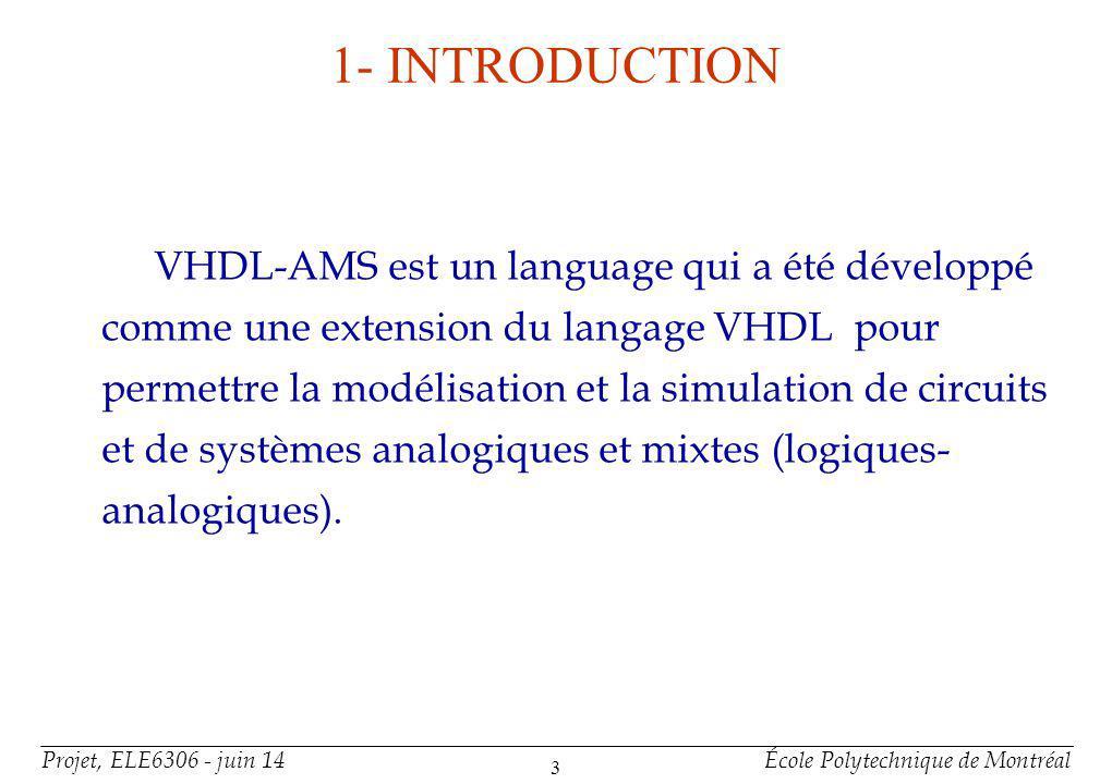 Projet, ELE6306 - juin 14École Polytechnique de Montréal 14 Organisation dun modèle VHDL-AMS(suite) 2-Corps darchitecture (architecture body): définit le comportement et/ou la structure du système modélisé.