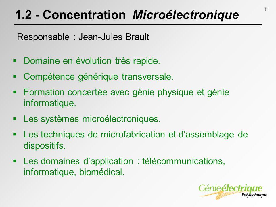 11 1.2 - Concentration Microélectronique Domaine en évolution très rapide. Compétence générique transversale. Formation concertée avec génie physique