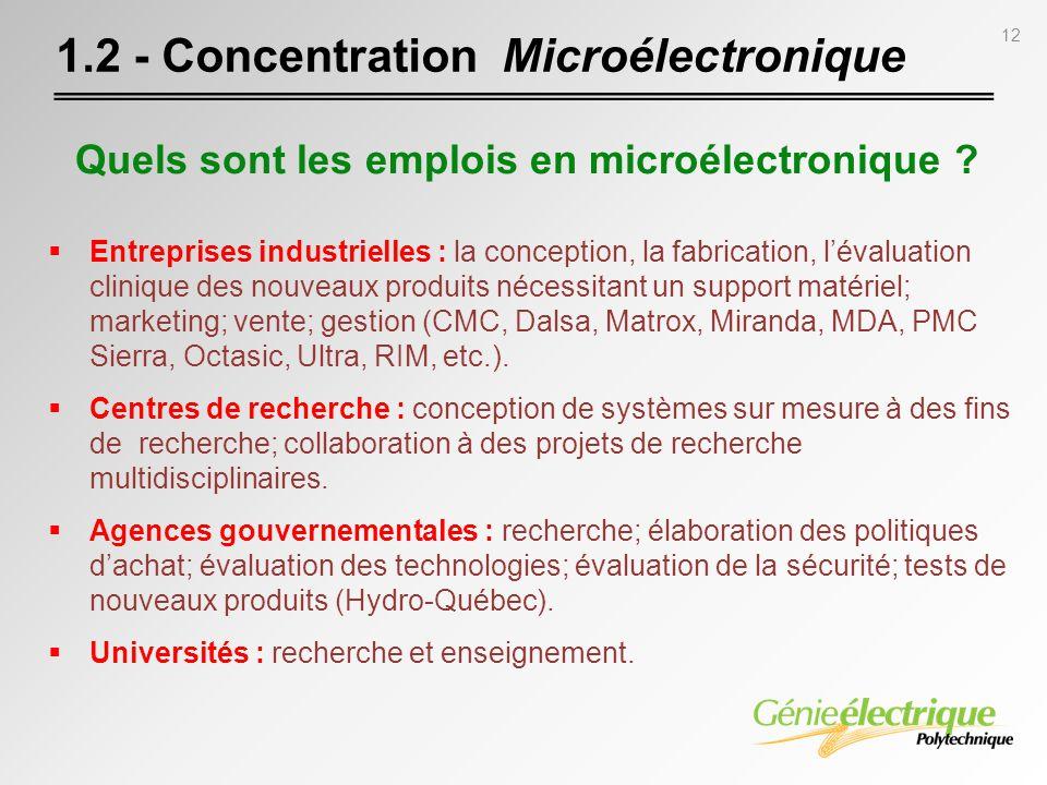 12 1.2 - Concentration Microélectronique Entreprises industrielles : la conception, la fabrication, lévaluation clinique des nouveaux produits nécessi