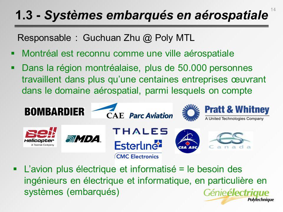 14 1.3 - Systèmes embarqués en aérospatiale Responsable : Guchuan Zhu @ Poly MTL Montréal est reconnu comme une ville aérospatiale Dans la région mont
