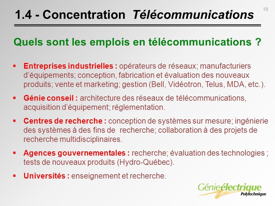 18 1.4 - Concentration Télécommunications Entreprises industrielles : opérateurs de réseaux; manufacturiers déquipements; conception, fabrication et é