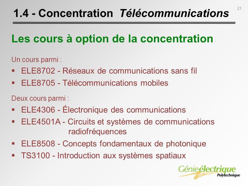 21 1.4 - Concentration Télécommunications Un cours parmi : ELE8702 - Réseaux de communications sans fil ELE8705 - Télécommunications mobiles Deux cour