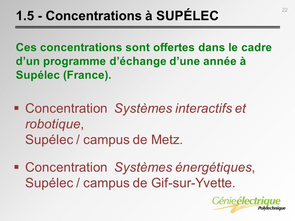 22 Concentration Systèmes interactifs et robotique, Supélec / campus de Metz. Concentration Systèmes énergétiques, Supélec / campus de Gif-sur-Yvette.