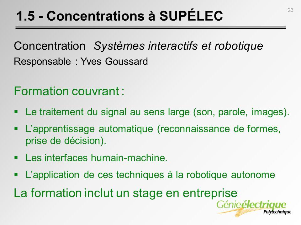 23 1.5 - Concentrations à SUPÉLEC Concentration Systèmes interactifs et robotique Responsable : Yves Goussard Formation couvrant : Le traitement du si