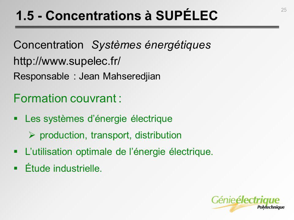 25 1.5 - Concentrations à SUPÉLEC Concentration Systèmes énergétiques http://www.supelec.fr/ Responsable : Jean Mahseredjian Formation couvrant : Les