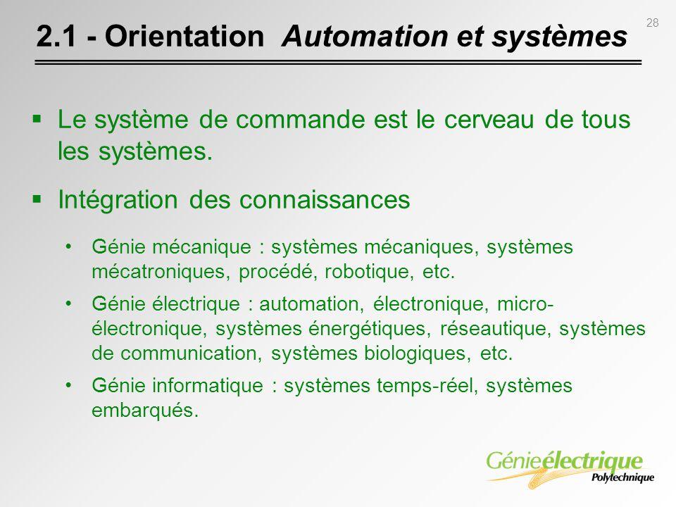 28 Le système de commande est le cerveau de tous les systèmes. Intégration des connaissances Génie mécanique : systèmes mécaniques, systèmes mécatroni