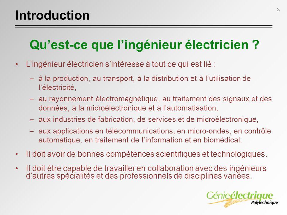 3 Introduction Lingénieur électricien sintéresse à tout ce qui est lié : –à la production, au transport, à la distribution et à lutilisation de lélect