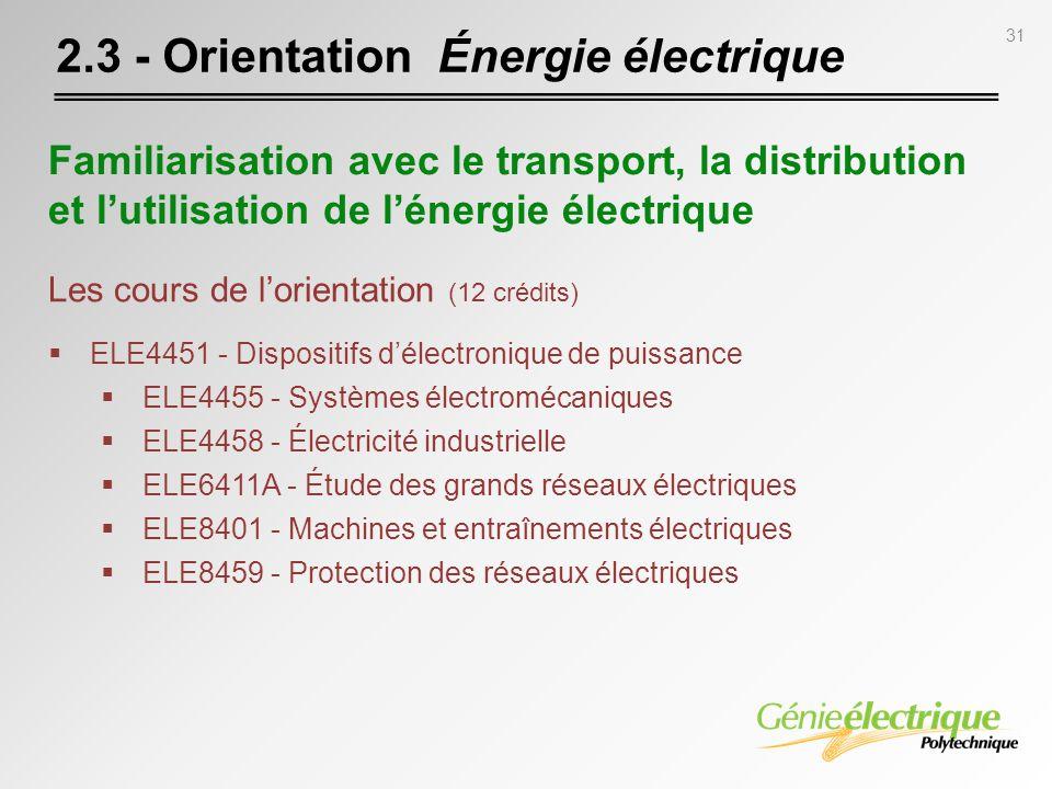 31 2.3 - Orientation Énergie électrique Les cours de lorientation (12 crédits) ELE4451 - Dispositifs délectronique de puissance ELE4455 - Systèmes éle