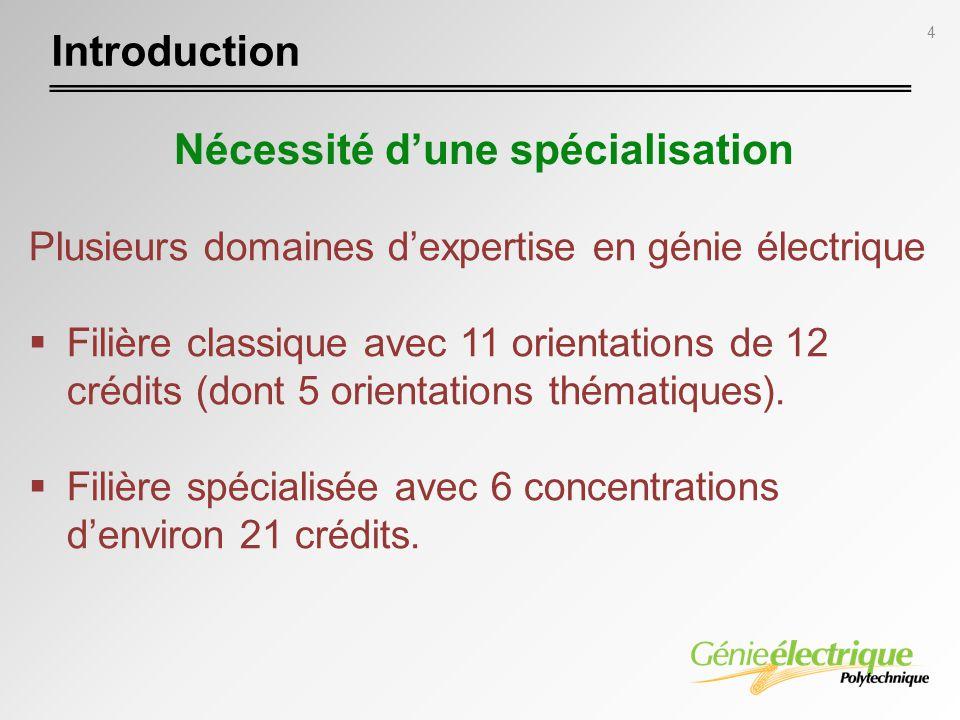 4 Plusieurs domaines dexpertise en génie électrique Filière classique avec 11 orientations de 12 crédits (dont 5 orientations thématiques). Filière sp