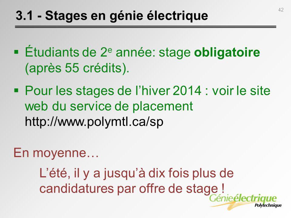 42 Étudiants de 2 e année: stage obligatoire (après 55 crédits). Pour les stages de lhiver 2014 : voir le site web du service de placement http://www.