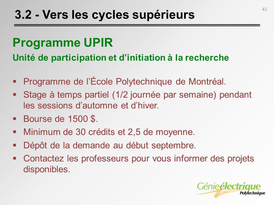 45 Programme UPIR Unité de participation et dinitiation à la recherche Programme de lÉcole Polytechnique de Montréal. Stage à temps partiel (1/2 journ