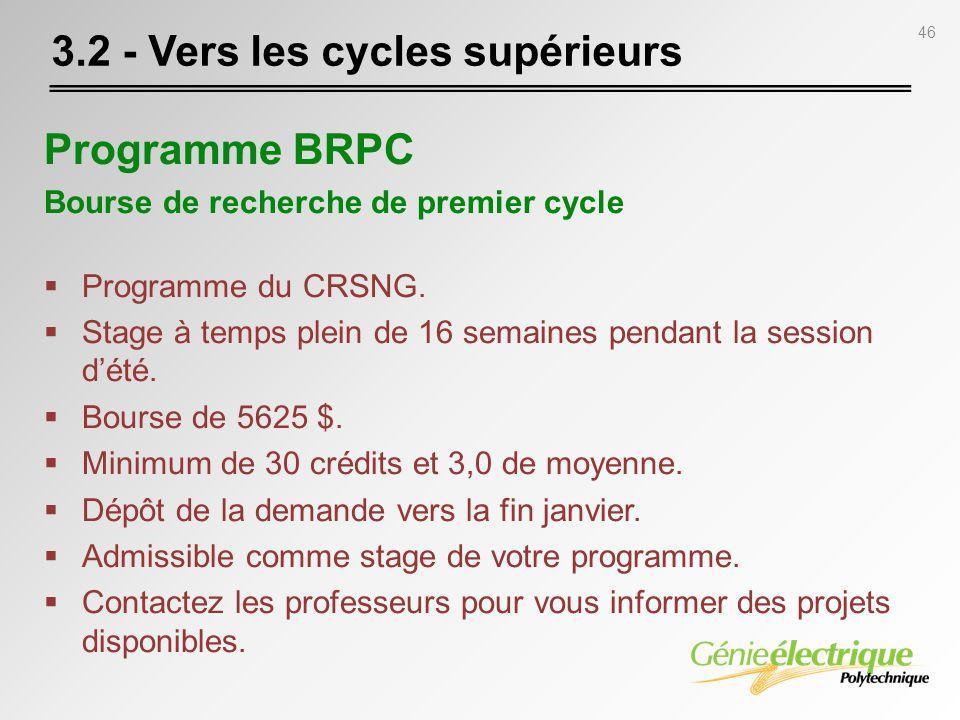 46 Programme BRPC Bourse de recherche de premier cycle Programme du CRSNG. Stage à temps plein de 16 semaines pendant la session dété. Bourse de 5625