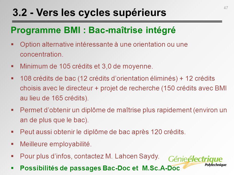 47 Programme BMI : Bac-maîtrise intégré Option alternative intéressante à une orientation ou une concentration. Minimum de 105 crédits et 3,0 de moyen