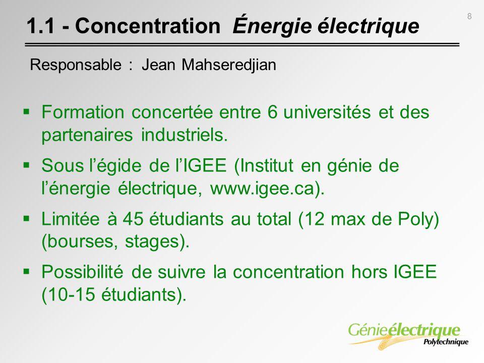 8 Formation concertée entre 6 universités et des partenaires industriels. Sous légide de lIGEE (Institut en génie de lénergie électrique, www.igee.ca)
