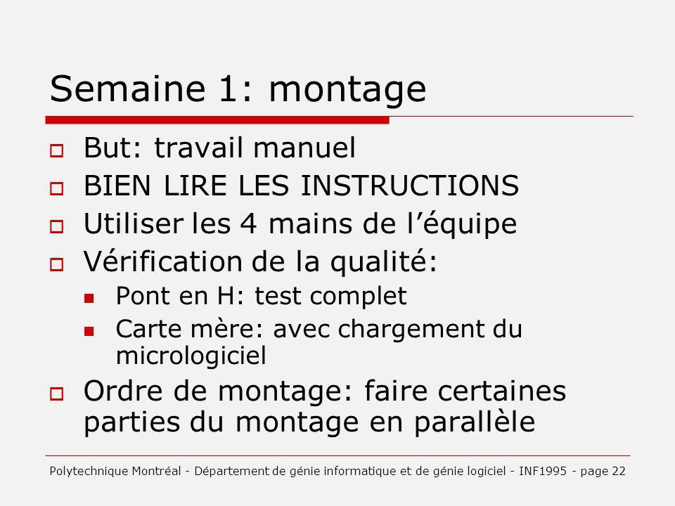 Semaine 1: montage But: travail manuel BIEN LIRE LES INSTRUCTIONS Utiliser les 4 mains de léquipe Vérification de la qualité: Pont en H: test complet