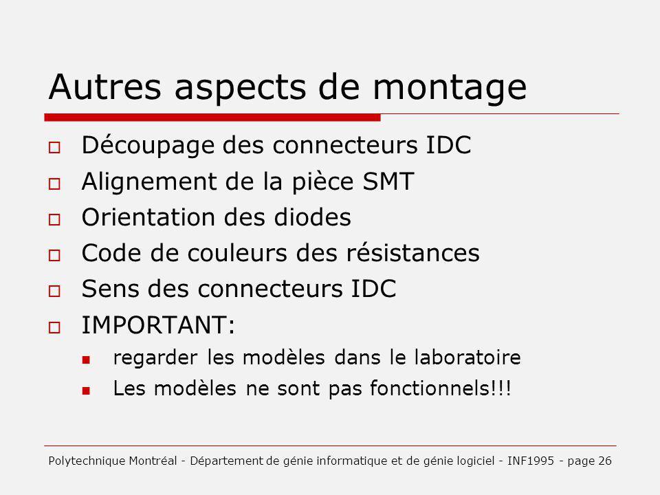 Autres aspects de montage Découpage des connecteurs IDC Alignement de la pièce SMT Orientation des diodes Code de couleurs des résistances Sens des connecteurs IDC IMPORTANT: regarder les modèles dans le laboratoire Les modèles ne sont pas fonctionnels!!.