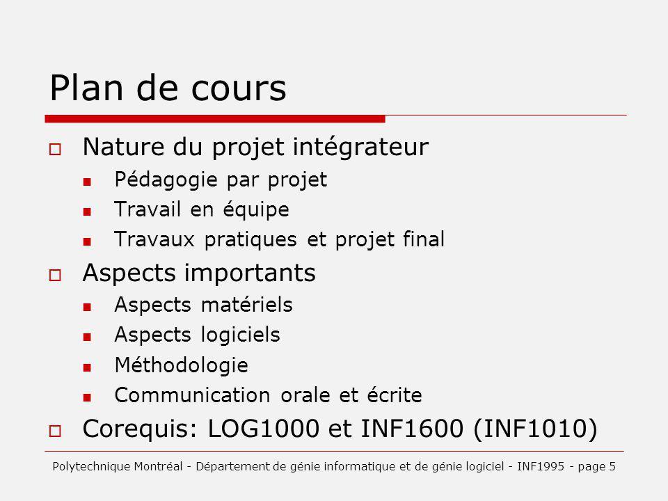 Plan de cours Nature du projet intégrateur Pédagogie par projet Travail en équipe Travaux pratiques et projet final Aspects importants Aspects matérie