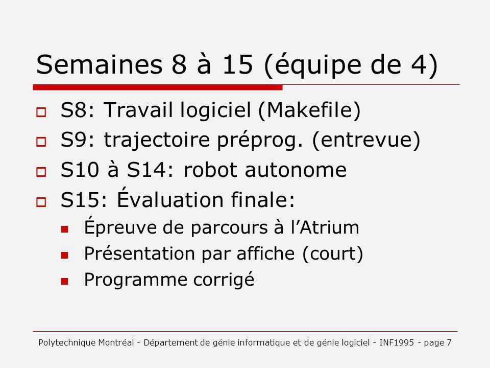 Semaines 8 à 15 (équipe de 4) S8: Travail logiciel (Makefile) S9: trajectoire préprog. (entrevue) S10 à S14: robot autonome S15: Évaluation finale: Ép