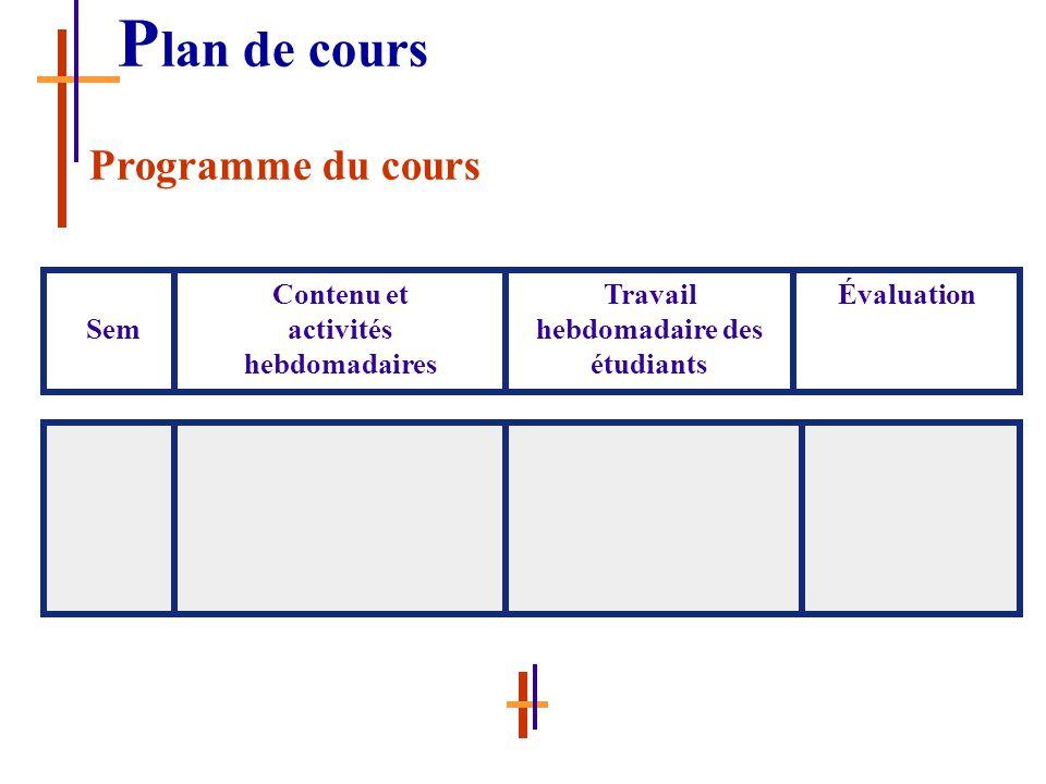 Sem Contenu et activités hebdomadaires Travail hebdomadaire des étudiants Évaluation P lan de cours Programme du cours