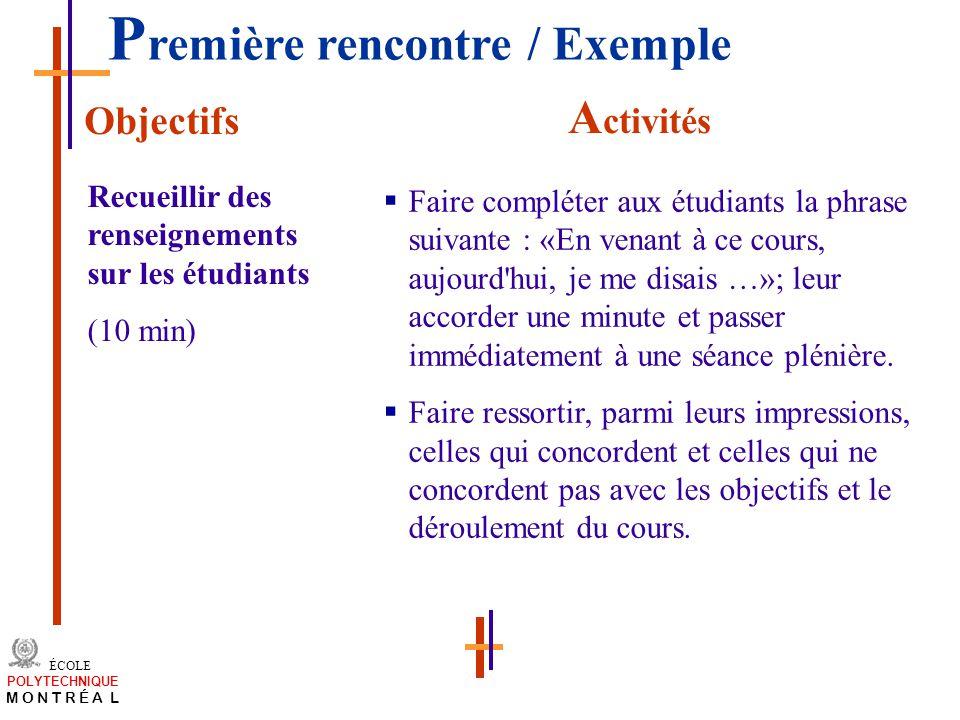 /atelier charge cours/plan de cours 23 ÉCOLE POLYTECHNIQUE M O N T R É A L Faire compléter aux étudiants la phrase suivante : «En venant à ce cours, a