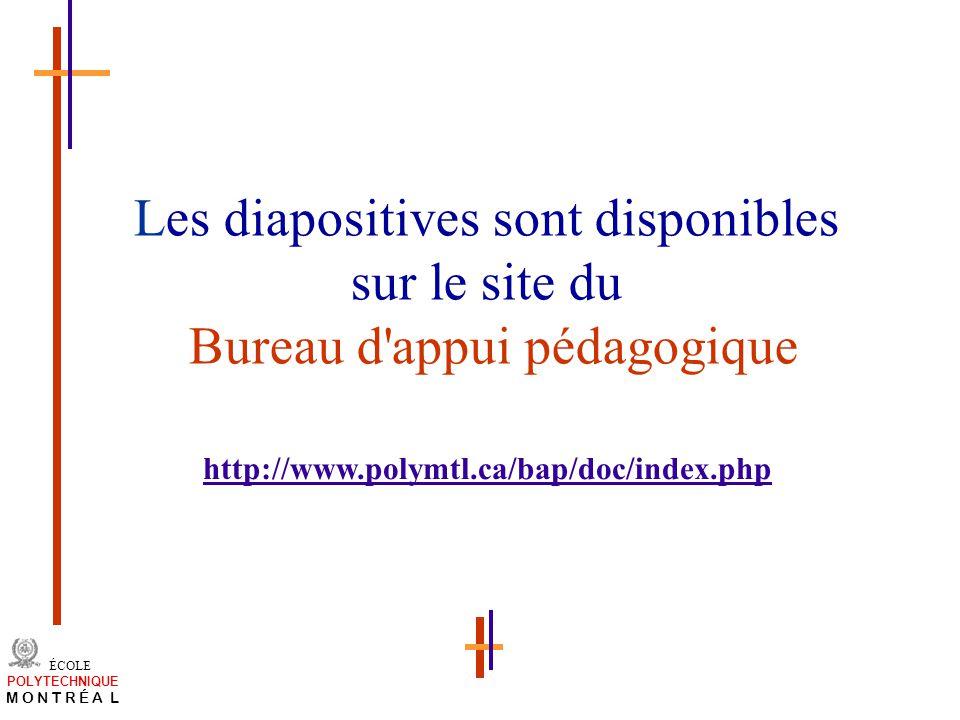 /atelier charge cours/plan de cours 53 ÉCOLE POLYTECHNIQUE M O N T R É A L Les diapositives sont disponibles sur le site du Bureau d'appui pédagogique