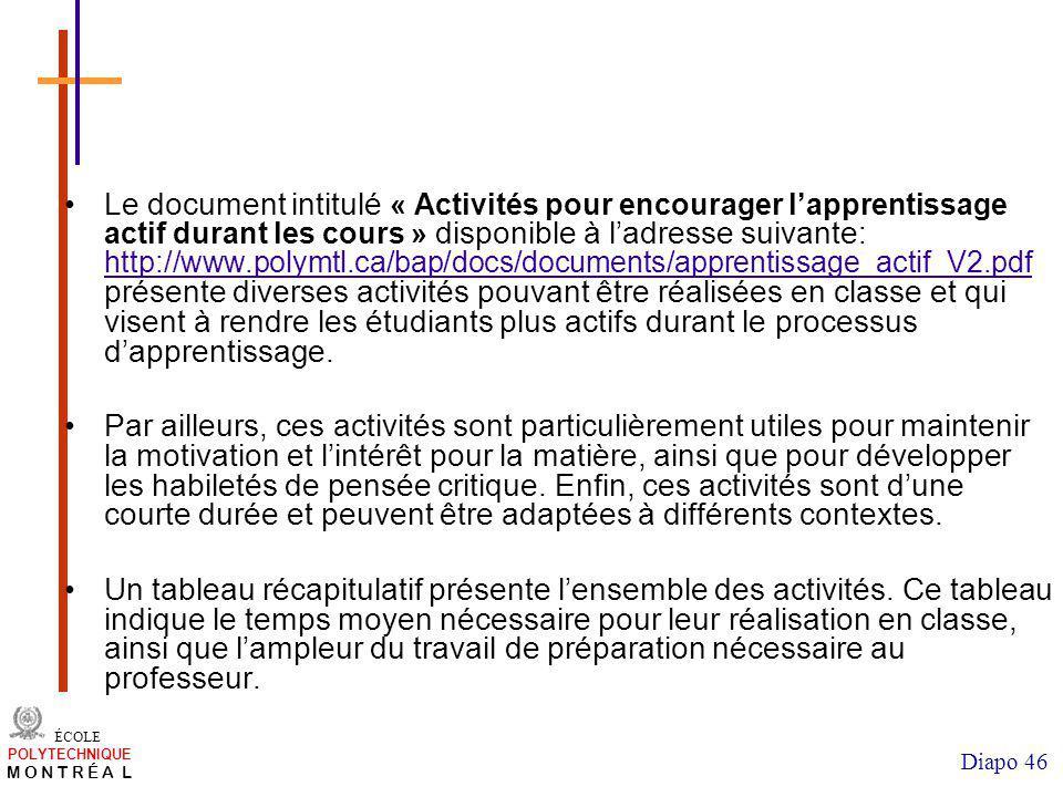 /atelier charge cours/plan de cours 46 ÉCOLE POLYTECHNIQUE M O N T R É A L Diapo 46 Le document intitulé « Activités pour encourager lapprentissage ac
