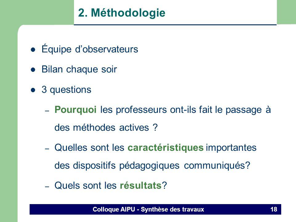 Colloque AIPU - Synthèse des travaux 17 Sciences administratives - marketing - gestion - économie Sciences agronomiques Sciences infirmières Sciences