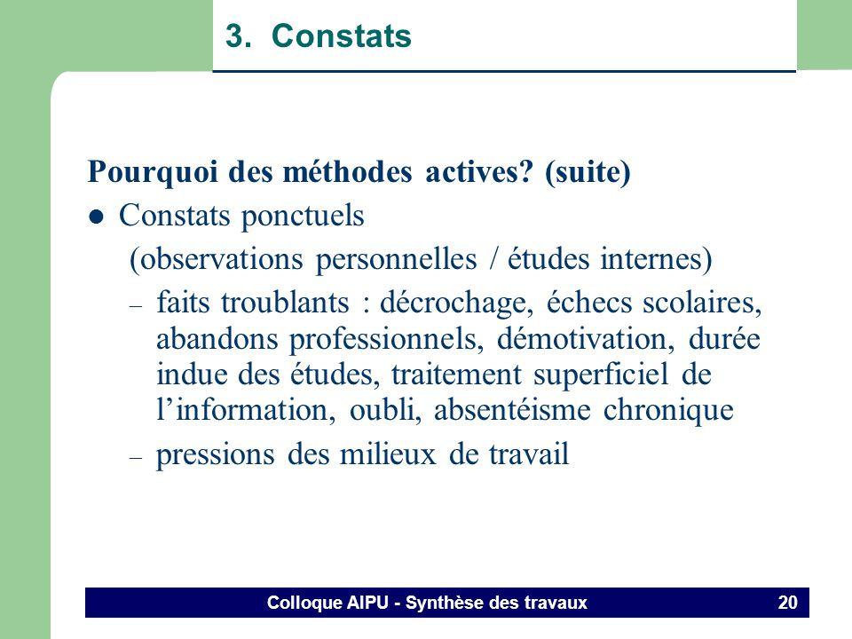 Colloque AIPU - Synthèse des travaux 19 3. Constats Pourquoi des méthodes actives? Raisons nobles – augmenter la qualité de la formation – favoriser l