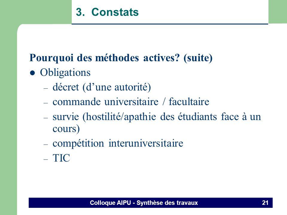 Colloque AIPU - Synthèse des travaux 20 3. Constats Pourquoi des méthodes actives? (suite) Constats ponctuels (observations personnelles / études inte