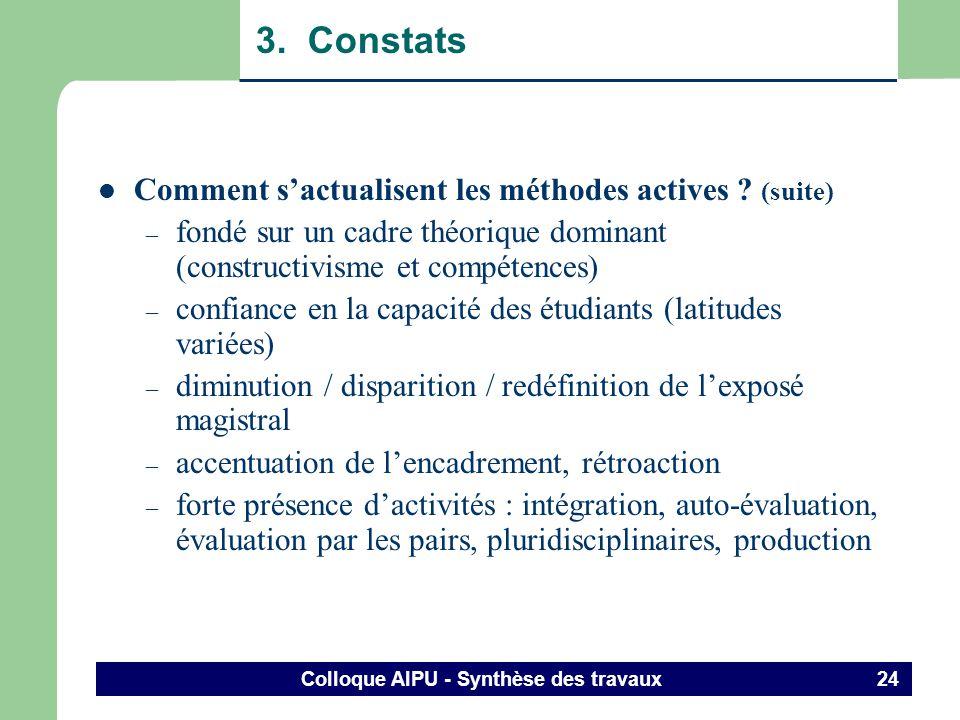 Colloque AIPU - Synthèse des travaux 23 3. Constats Comment sactualisent les méthodes actives .