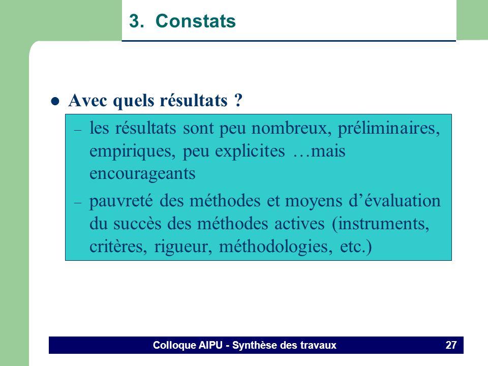 Colloque AIPU - Synthèse des travaux 26 3. Constats Comment sactualisent les méthodes actives ? (suite et fin) – dans des organisations inédites : hor