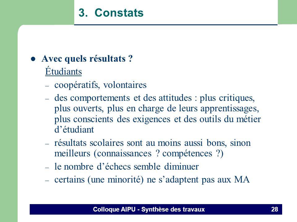 Colloque AIPU - Synthèse des travaux 27 3. Constats Avec quels résultats ? – les résultats sont peu nombreux, préliminaires, empiriques, peu explicite