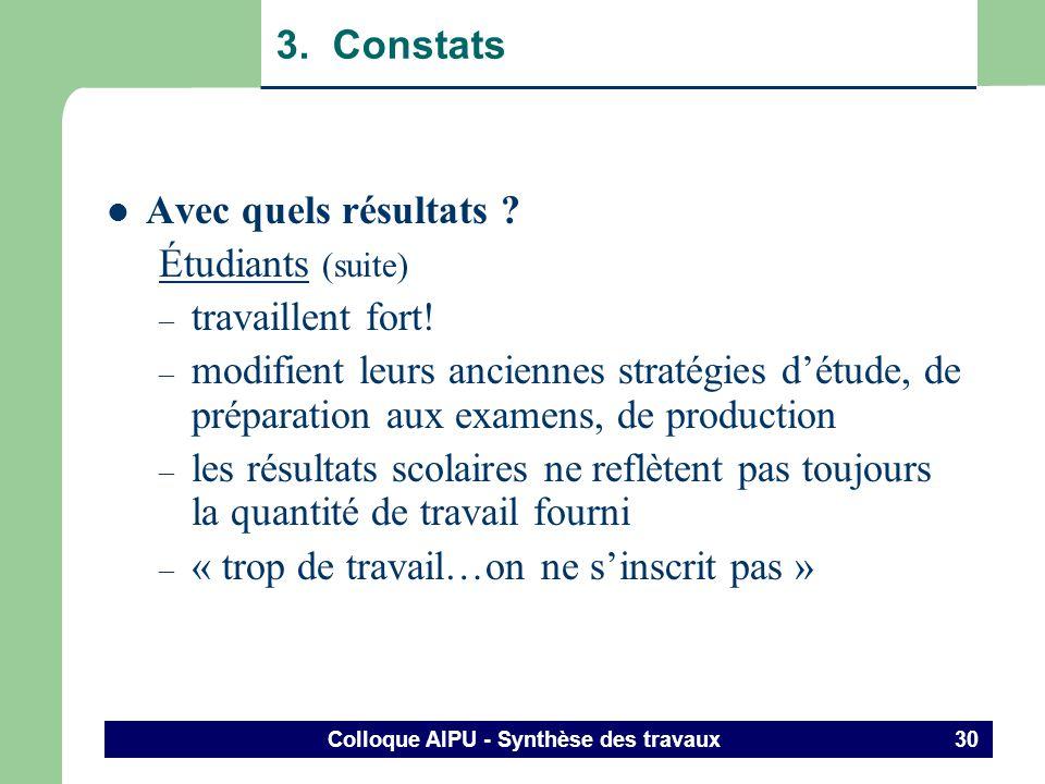 Colloque AIPU - Synthèse des travaux 29 3. Constats Avec quels résultats ? Étudiants (suite) – ceux et celles qui restent : simpliquent, sengagent : 1