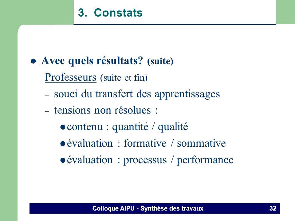 Colloque AIPU - Synthèse des travaux 31 3. Constats Avec quels résultats? (suite) Professeurs – beaucoup plus de travail que prévu ! – crainte enthous