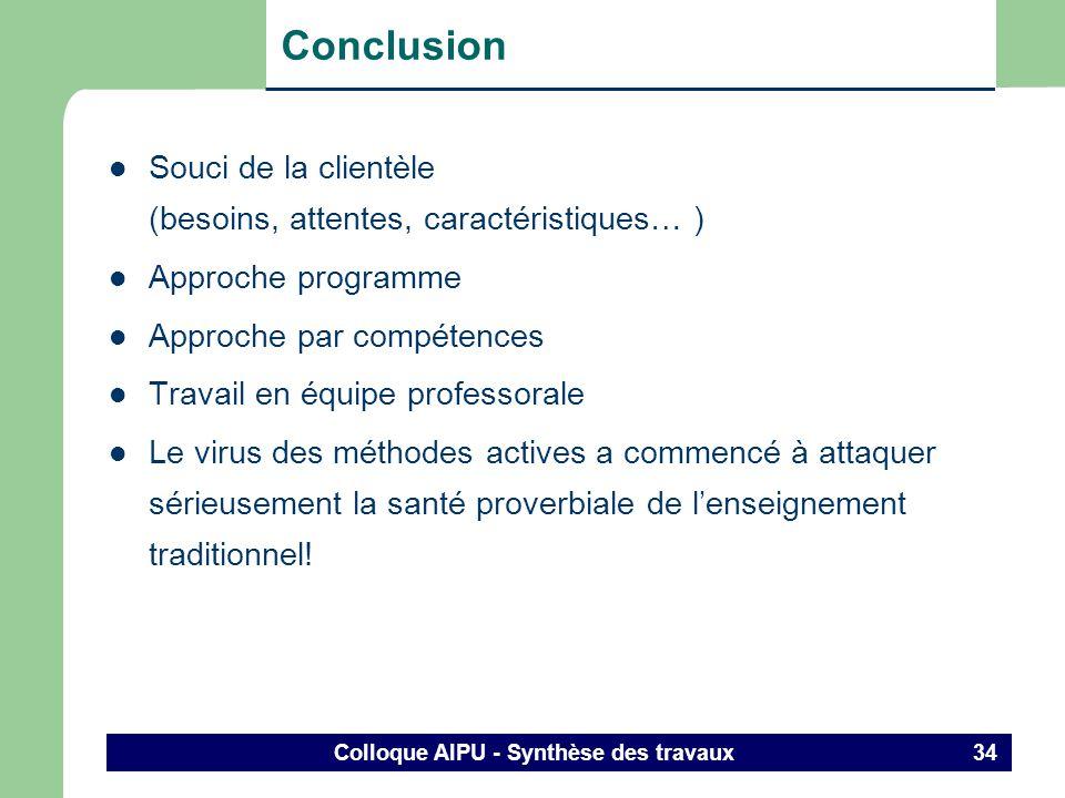 Colloque AIPU - Synthèse des travaux 33 3. Constats Avec quels résultats? (suite et fin) Gestionnaires – sont interpellés pour plus de souplesse, douv