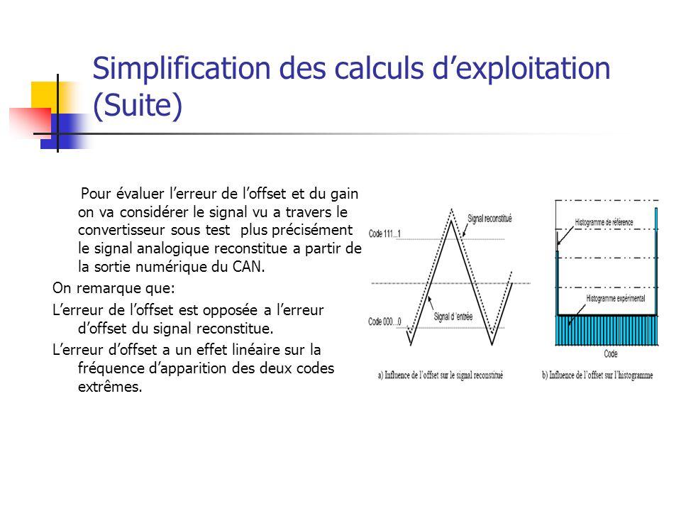 Simplification des calculs dexploitation (Suite) Pour évaluer lerreur de loffset et du gain on va considérer le signal vu a travers le convertisseur s