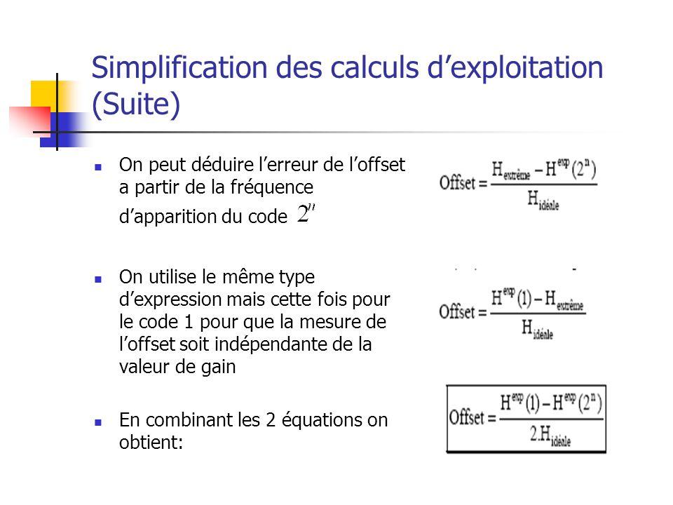 Simplification des calculs dexploitation (Suite) On peut déduire lerreur de loffset a partir de la fréquence dapparition du code On utilise le même ty