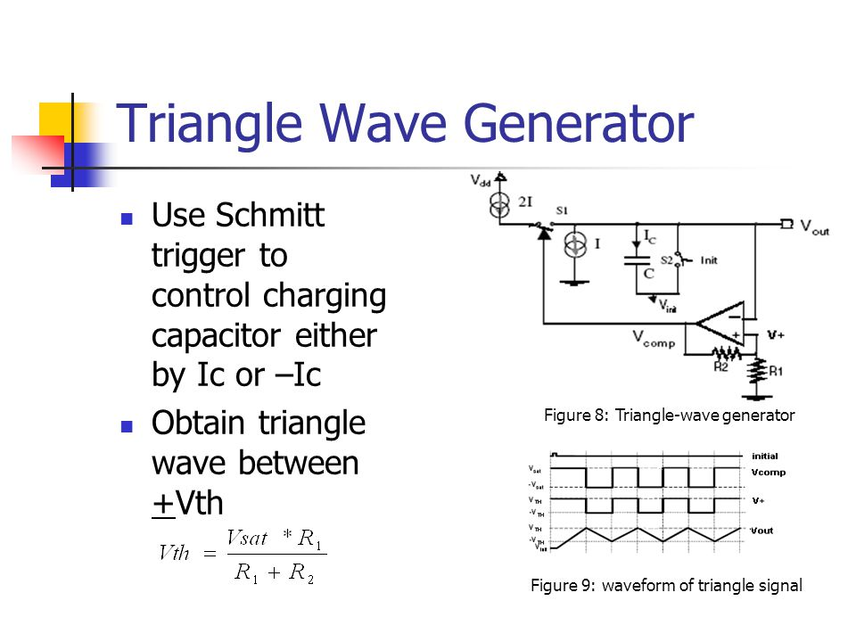 Triangle Wave Generator Use Schmitt trigger to control charging capacitor either by Ic or –Ic Obtain triangle wave between +Vth Figure 8: Triangle-wav