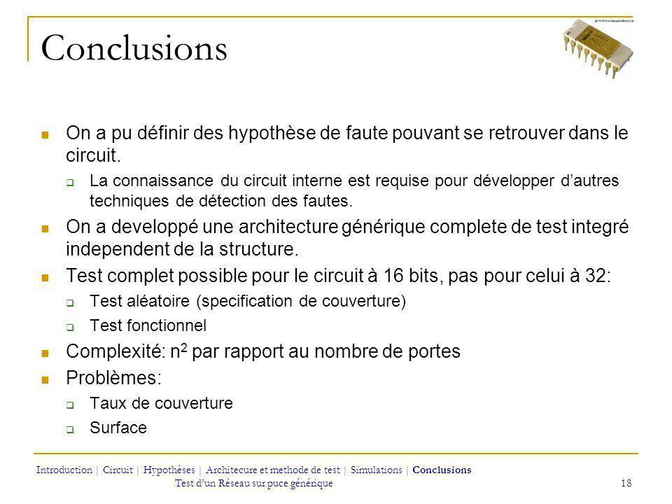 Conclusions On a pu définir des hypothèse de faute pouvant se retrouver dans le circuit.