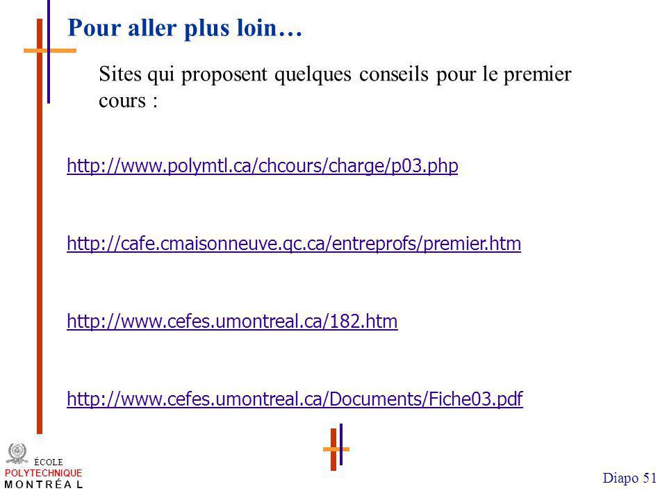 /atelier charge cours/plan de cours 51 ÉCOLE POLYTECHNIQUE M O N T R É A L Diapo 51 Pour aller plus loin… http://www.polymtl.ca/chcours/charge/p03.php http://cafe.cmaisonneuve.qc.ca/entreprofs/premier.htm http://www.cefes.umontreal.ca/182.htm http://www.cefes.umontreal.ca/Documents/Fiche03.pdf Sites qui proposent quelques conseils pour le premier cours :