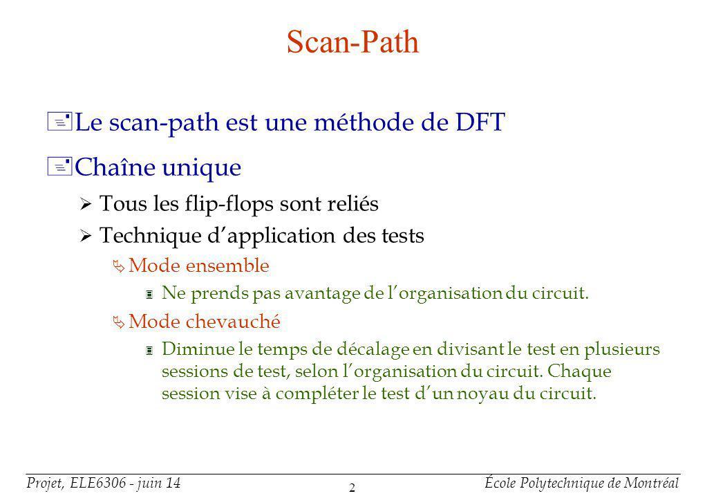 Projet, ELE6306 - juin 14École Polytechnique de Montréal 2 Scan-Path +Le scan-path est une méthode de DFT +Chaîne unique Tous les flip-flops sont reliés Technique dapplication des tests Mode ensemble 3 Ne prends pas avantage de lorganisation du circuit.