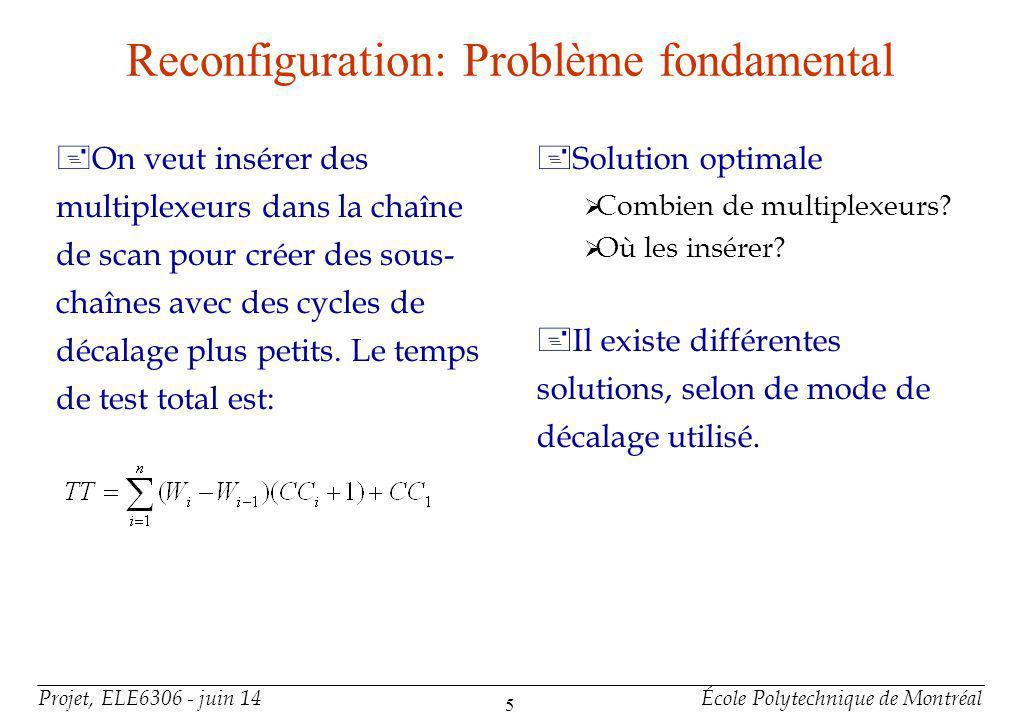 Projet, ELE6306 - juin 14École Polytechnique de Montréal 5 Reconfiguration: Problème fondamental +On veut insérer des multiplexeurs dans la chaîne de scan pour créer des sous- chaînes avec des cycles de décalage plus petits.