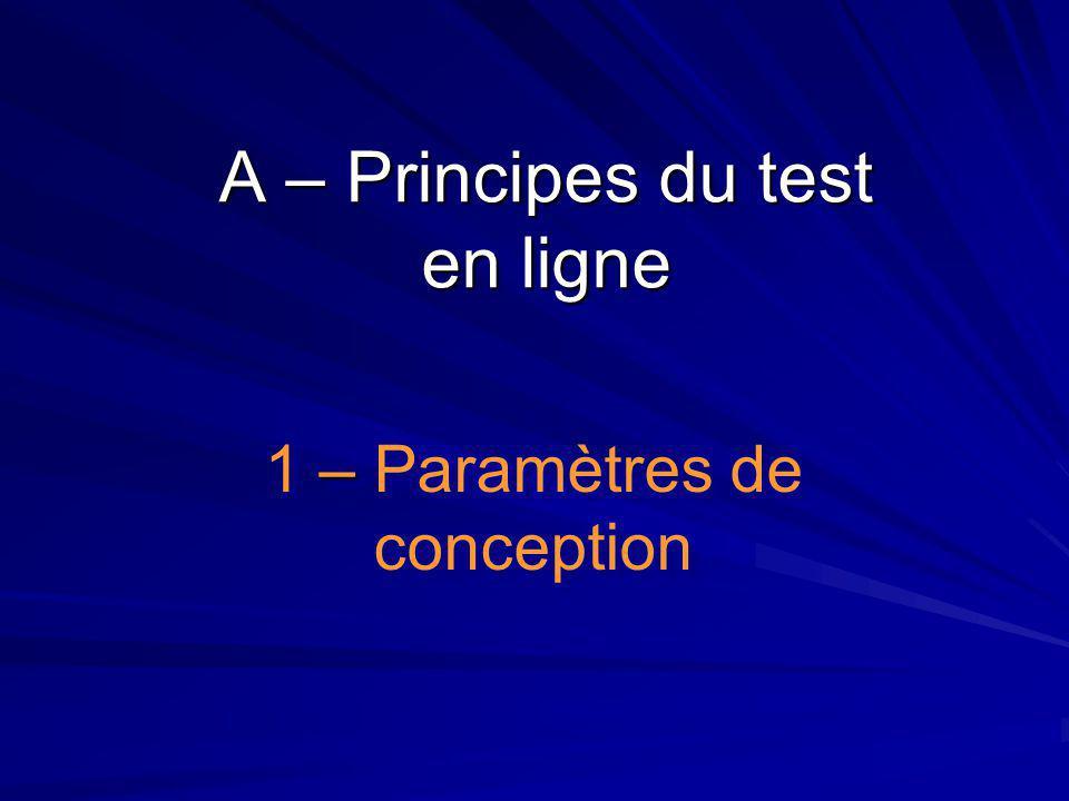 A – Principes du test en ligne – 1 – Paramètres de conception