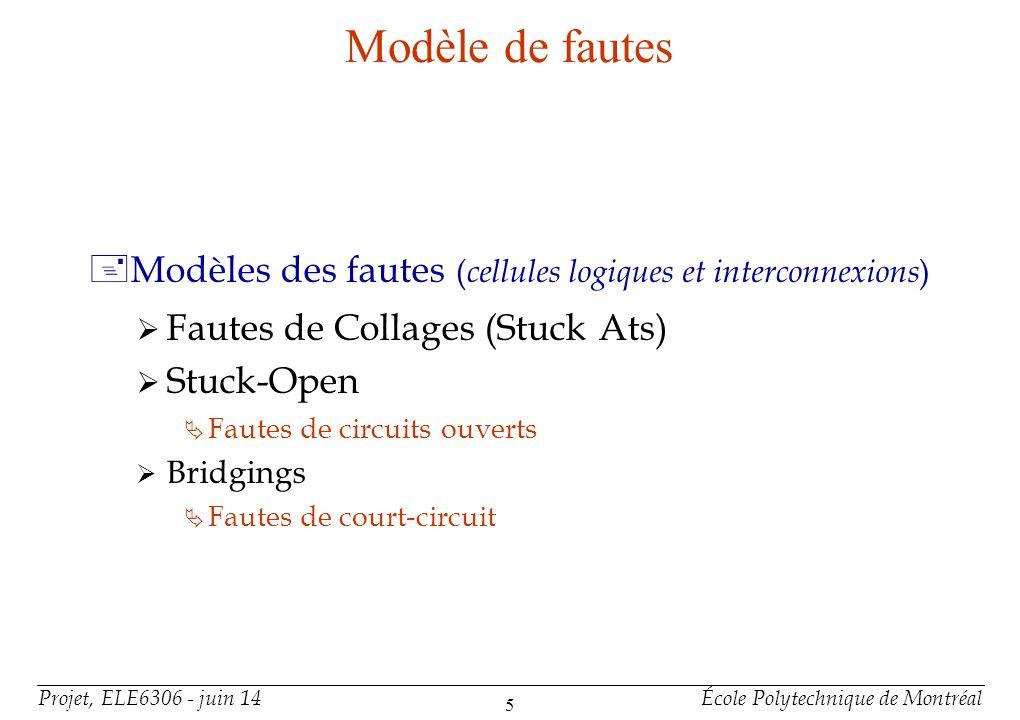 Projet, ELE6306 - juin 14École Polytechnique de Montréal 16 Détection des fautes : DFT conception en vue du test +Méthode I Connexion des CLB sous forme dune matrice unidimensionnelle (1-D) Permet de tester le FPGA comme un ensemble déléments indépendant.