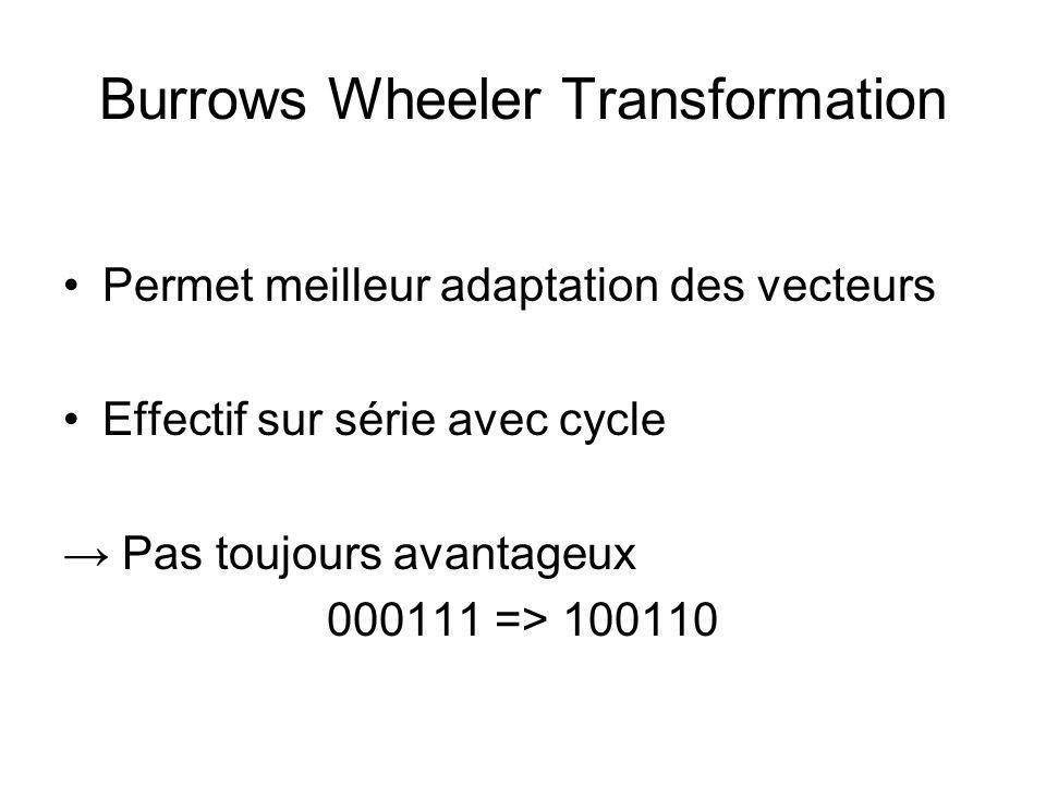 Burrows Wheeler Transformation Permet meilleur adaptation des vecteurs Effectif sur série avec cycle Pas toujours avantageux 000111 => 100110