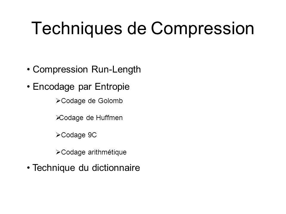 Techniques de Compression Compression Run-Length Encodage par Entropie Codage de Golomb Codage de Huffmen Codage 9C Codage arithmétique Technique du dictionnaire