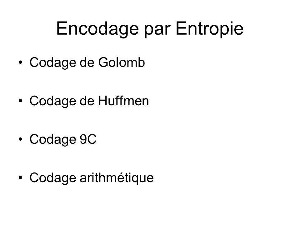 Encodage par Entropie Codage de Golomb Codage de Huffmen Codage 9C Codage arithmétique