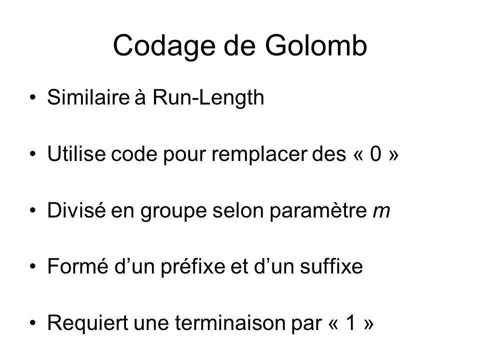 Codage de Golomb Similaire à Run-Length Utilise code pour remplacer des « 0 » Divisé en groupe selon paramètre m Formé dun préfixe et dun suffixe Requ