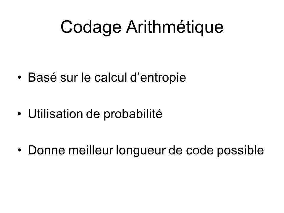 Codage Arithmétique Basé sur le calcul dentropie Utilisation de probabilité Donne meilleur longueur de code possible